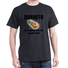 Burrito Sleeping Bag Black T-Shirt