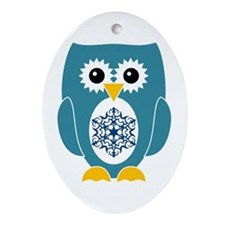 Blue Owl With Snowflake Ornament (Oval)
