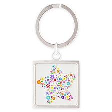 White Star Flower Square Keychain