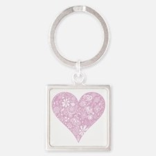 Pink Decorative Heart Square Keychain