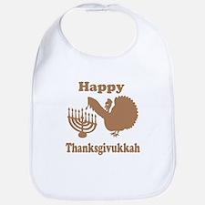 Happy Thanksukkah 3 brown Bib