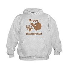 Happy Thanksukkah 3 brown Hoodie
