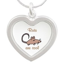 Rats are Cool Silver Heart Necklace
