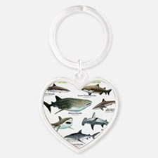 Sharks of the World Heart Keychain