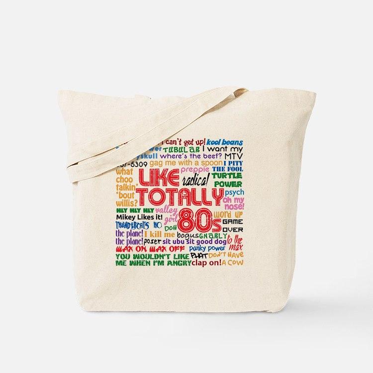 like totally 80s transparent bg Tote Bag