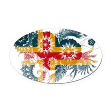 Aland textured flower Oval Car Magnet
