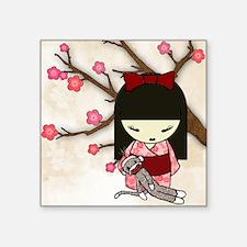"Kokeshi Sock Monkey 01 Square Sticker 3"" x 3"""