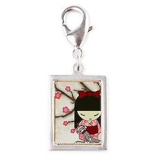 Kokeshi Sock Monkey 01 Silver Portrait Charm