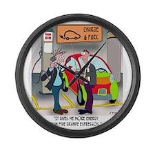 8644_electric_car_cartoon Large Wall Clock
