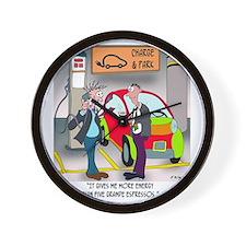 8644_electric_car_cartoon Wall Clock