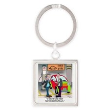 8644_electric_car_cartoon Square Keychain