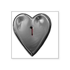 "metal heart Square Sticker 3"" x 3"""