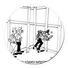 6396_inspector_cartoon_KK Round Car Magnet
