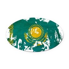 Kazakhstan textured splatter copy Oval Car Magnet