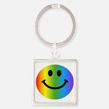 Rainbow Smiley Face Square Keychain
