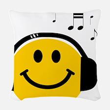 Music Love Smiley Woven Throw Pillow