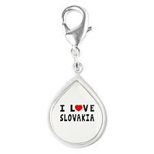 I Love Slovakia Silver Teardrop Charm