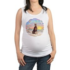 Ocean Sunrise - Red Doberman Maternity Tank Top