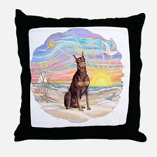 Ocean Sunrise - Red Doberman Throw Pillow