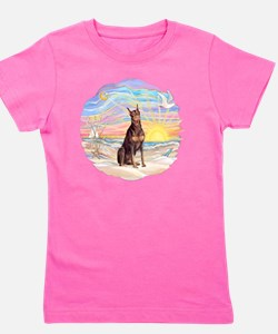 Ocean Sunrise - Red Doberman Girl's Tee