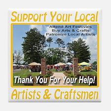 support_artists_and_craftsmen_transpa Tile Coaster