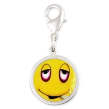 Senor Mr Smiley buttons Silver Round Charm