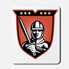 Knight Crusader With Sword Shield Mousepad