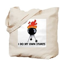 BBQ Grill on fire. Stunts Tote Bag