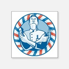 "Barber With Clipper Hair Cu Square Sticker 3"" x 3"""