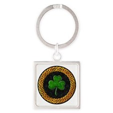 CELTIC-SHAMROCK-CIRCLE Square Keychain