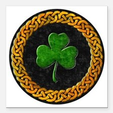 "CELTIC-SHAMROCK-CIRCLE Square Car Magnet 3"" x 3"""