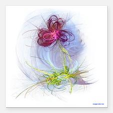 """fractal flower Square Car Magnet 3"""" x 3"""""""
