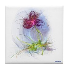 fractal flower Tile Coaster