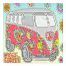 """VWVan60sGroovyGlassPrint Square Car Magnet 3"""" x 3"""""""
