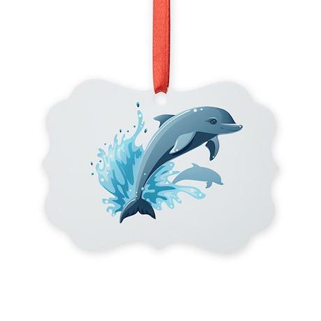 Dolphin 3 Picture Ornament