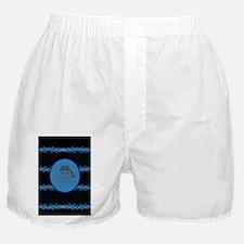nautical pirate skull modern blue wav Boxer Shorts