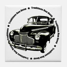 traditions deep black Tile Coaster