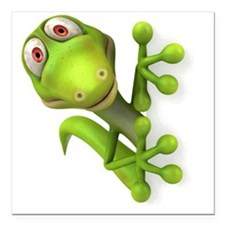 "Cartoon Gecko Square Car Magnet 3"" x 3"""