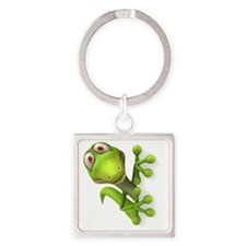 Cartoon Gecko Square Keychain