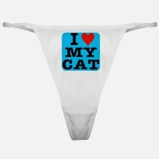 HeartMyCat10x10blue Classic Thong