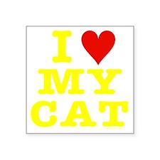 "HeartMyCat10x10yellowTrans Square Sticker 3"" x 3"""