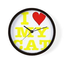 HeartMyCat10x10yellowTrans Wall Clock
