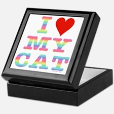 HeartMyCat10x10RainbowTran Keepsake Box