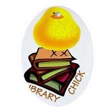 LIBRARY CHICK BOOKS Oval Ornament