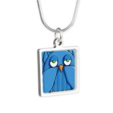 Ornament Aqua Owl aqua Silver Square Necklace