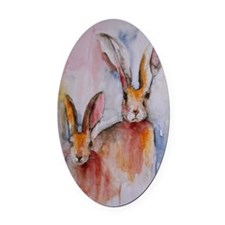 2 Hares Oval Car Magnet