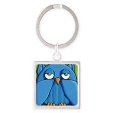 Mini Wallet Aqua Owl green Square Keychain