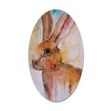 Solo Hare Oval Car Magnet