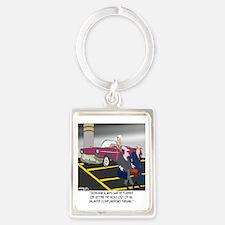 8608_parking_cartoon Portrait Keychain