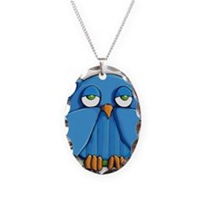 Ornament oval Aqua Owl Necklace